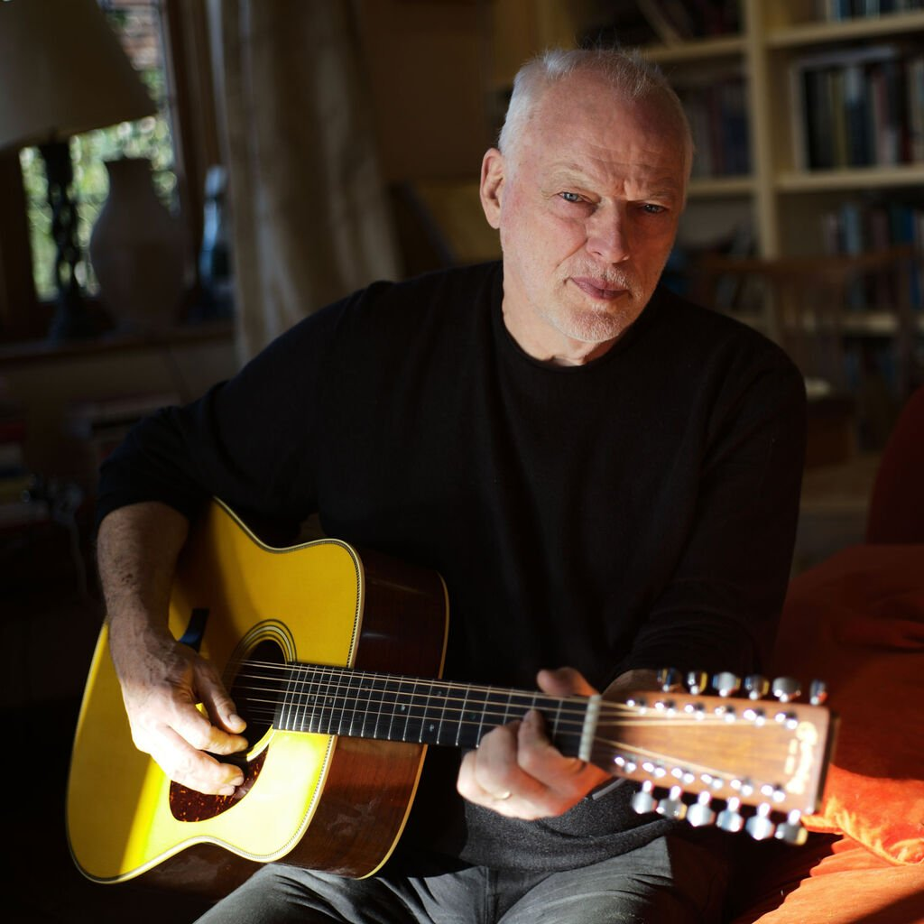 David Gilmour playing his Martin custom signature edition acoustic guitar
