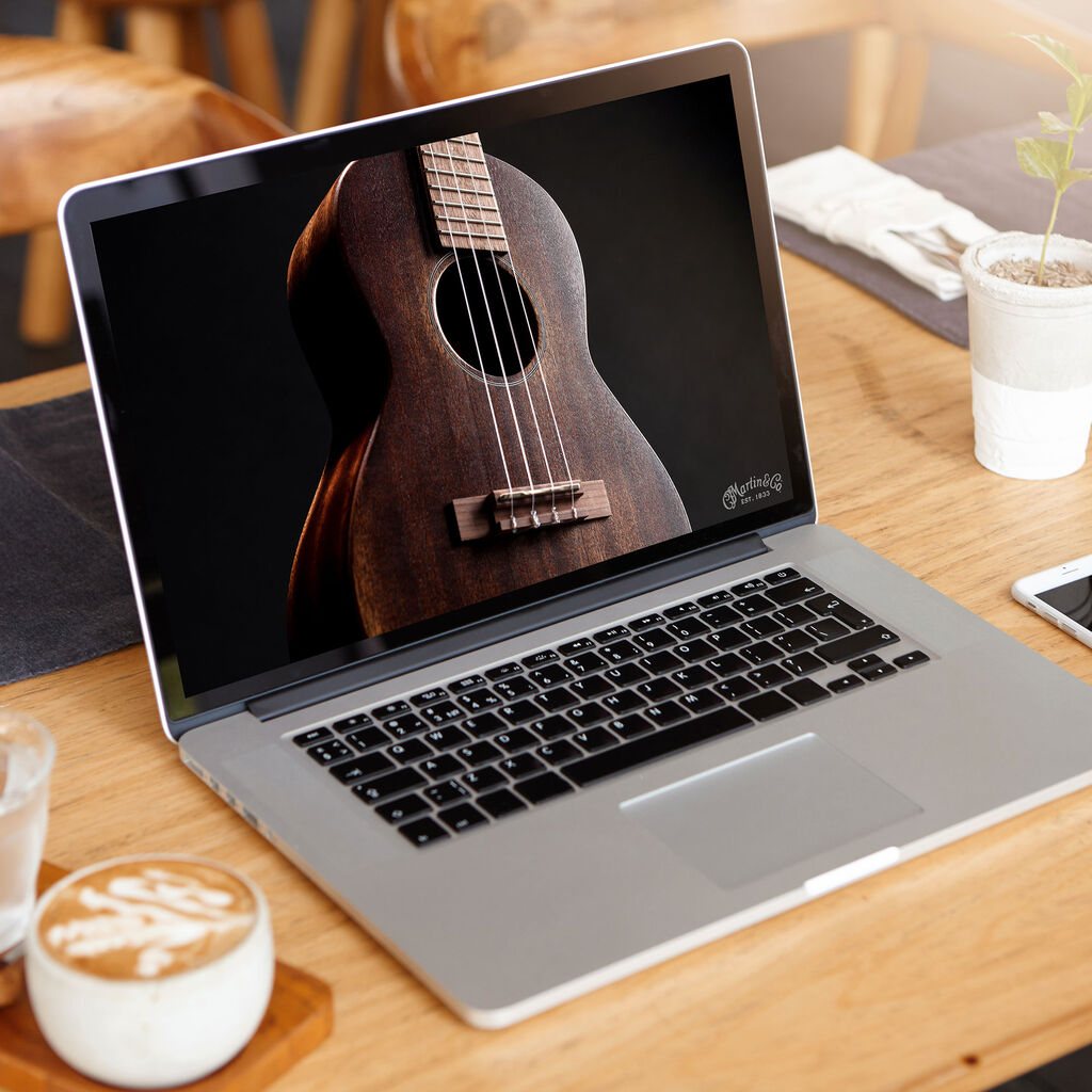 Guitar image on computer background
